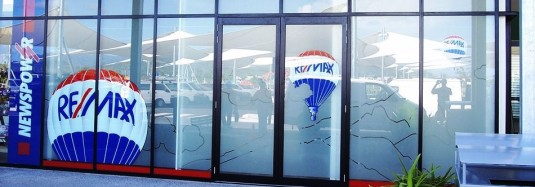 Image of vinyl lettering on glass windows