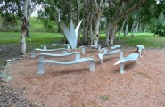Aluminum Apex Park art and seats