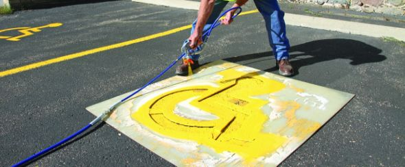 Spraying of Stencils in carpark