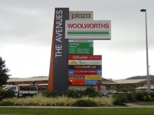The Avenues illuminated pylon sign
